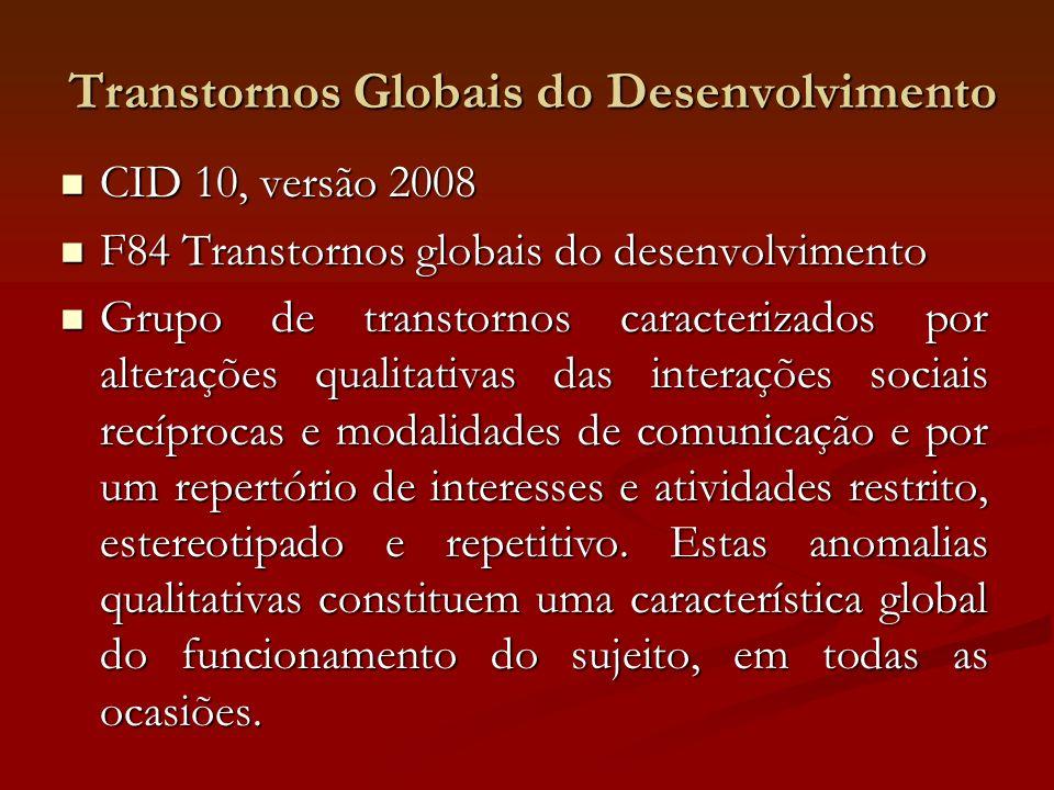 Transtornos Globais do Desenvolvimento CID 10, versão 2008 CID 10, versão 2008 F84 Transtornos globais do desenvolvimento F84 Transtornos globais do d