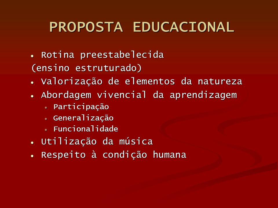 PROPOSTA EDUCACIONAL PROPOSTA EDUCACIONAL Rotina preestabelecida Rotina preestabelecida (ensino estruturado) Valorização de elementos da natureza Valo