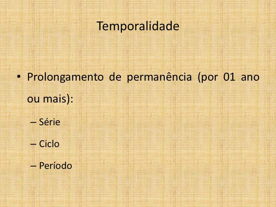 Temporalidade Prolongamento de permanência (por 01 ano ou mais): – Série – Ciclo – Período