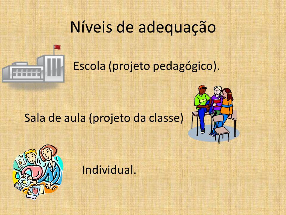 Níveis de adequação Escola (projeto pedagógico). Sala de aula (projeto da classe) Individual.