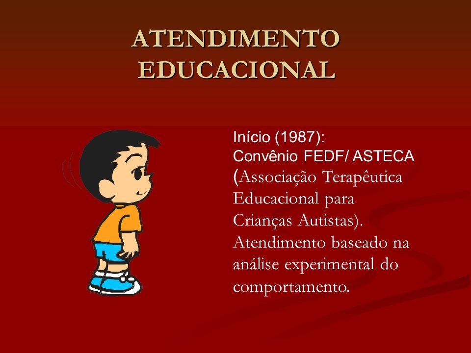 ATENDIMENTO EDUCACIONAL Início (1987): Convênio FEDF/ ASTECA ( Associação Terapêutica Educacional para Crianças Autistas). Atendimento baseado na anál