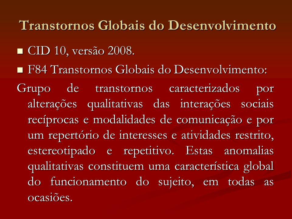 Transtornos Globais do Desenvolvimento CID 10, versão 2008. CID 10, versão 2008. F84 Transtornos Globais do Desenvolvimento: F84 Transtornos Globais d