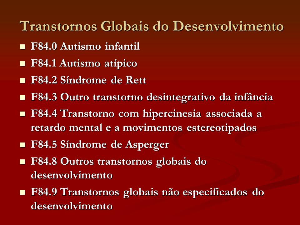 Transtornos Globais do Desenvolvimento F84.0 Autismo infantil F84.0 Autismo infantil F84.1 Autismo atípico F84.1 Autismo atípico F84.2 Síndrome de Ret