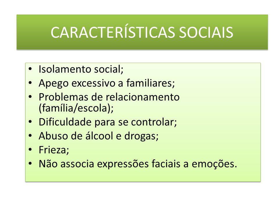 CARACTERÍSTICAS SOCIAIS Isolamento social; Apego excessivo a familiares; Problemas de relacionamento (família/escola); Dificuldade para se controlar; Abuso de álcool e drogas; Frieza; Não associa expressões faciais a emoções.