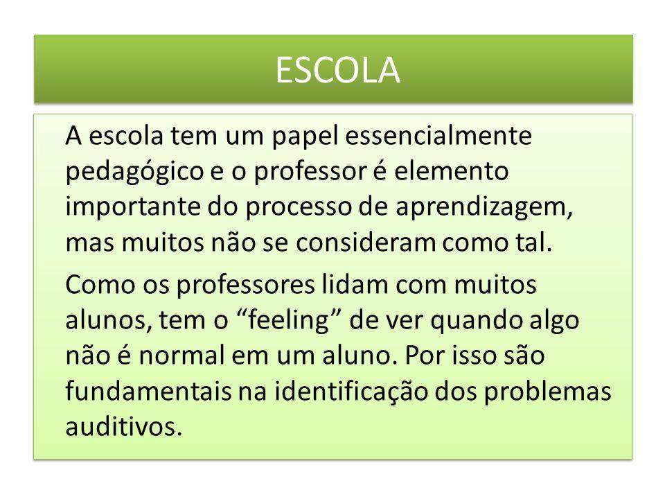 ESCOLA A escola tem um papel essencialmente pedagógico e o professor é elemento importante do processo de aprendizagem, mas muitos não se consideram como tal.