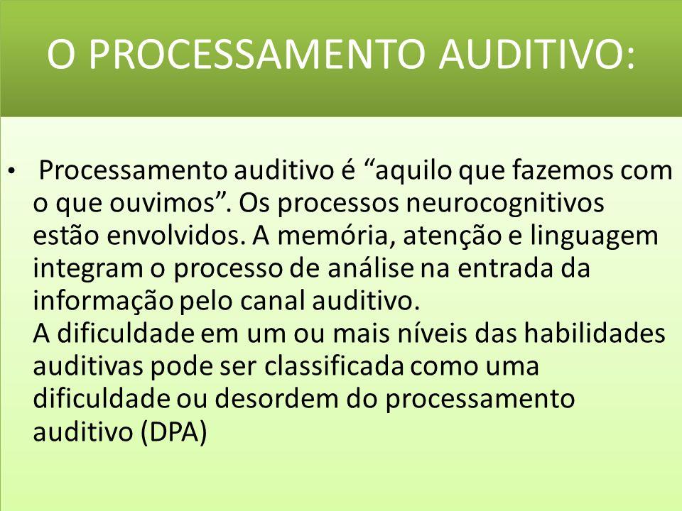 O PROCESSAMENTO AUDITIVO: Processamento auditivo é aquilo que fazemos com o que ouvimos.