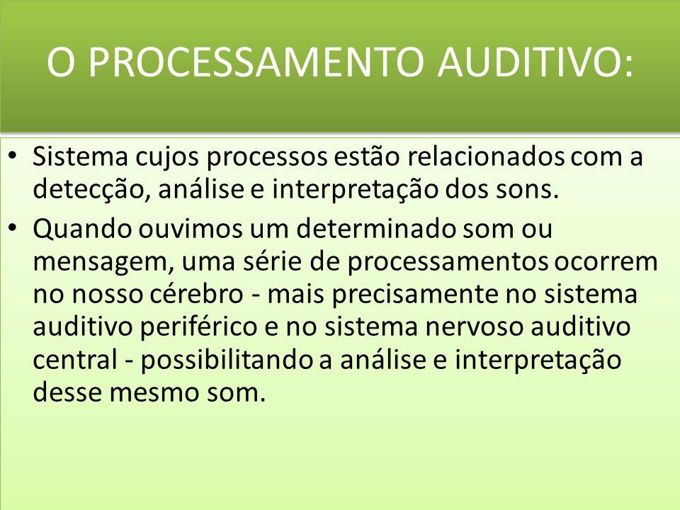O PROCESSAMENTO AUDITIVO: Sistema cujos processos estão relacionados com a detecção, análise e interpretação dos sons.