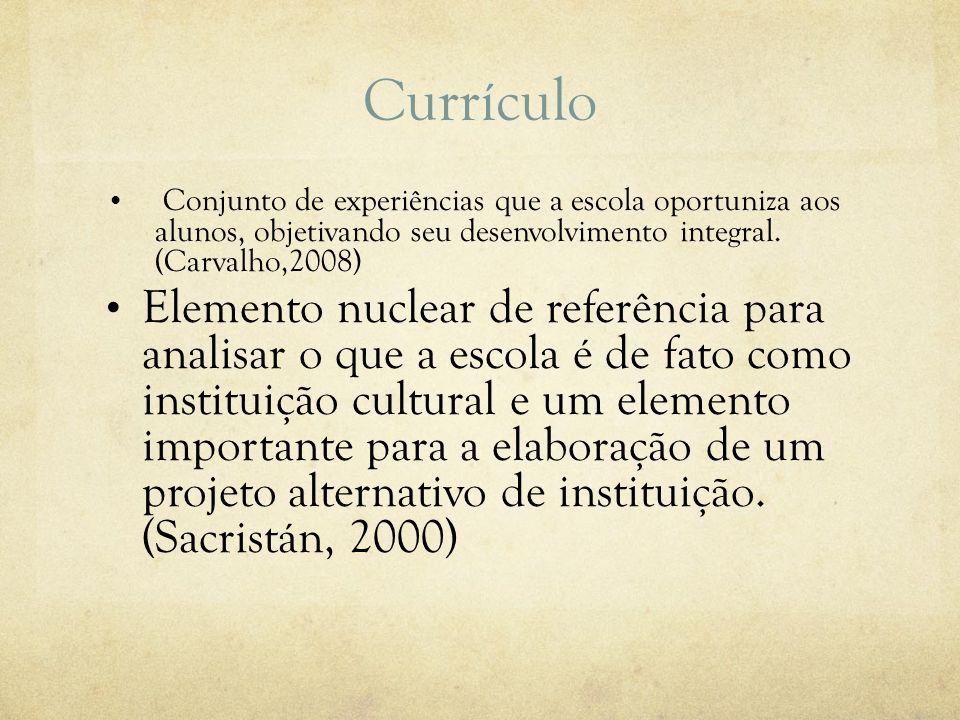 Currículo Conjunto de experiências que a escola oportuniza aos alunos, objetivando seu desenvolvimento integral. (Carvalho,2008) Elemento nuclear de r