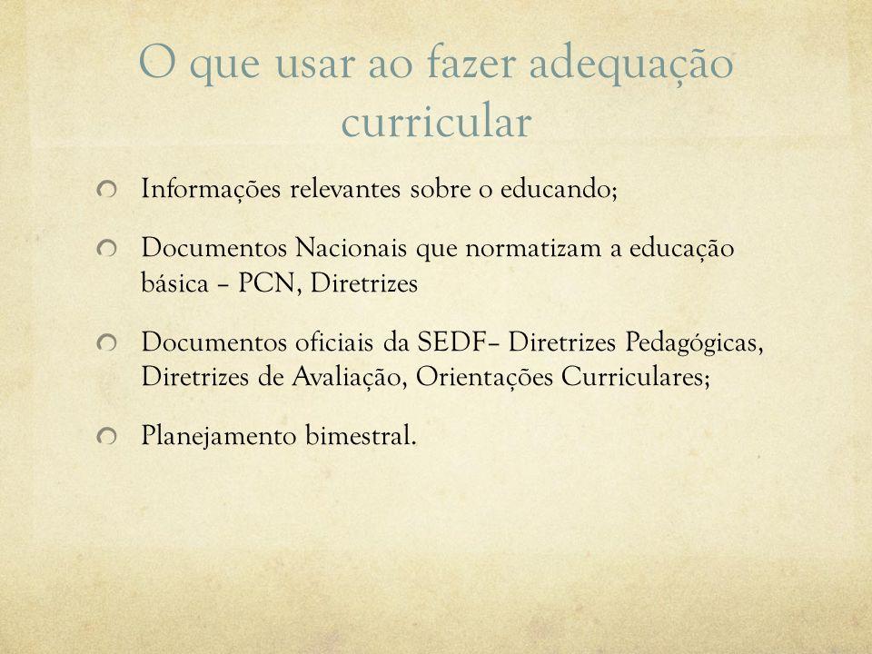 O que usar ao fazer adequação curricular Informações relevantes sobre o educando; Documentos Nacionais que normatizam a educação básica – PCN, Diretri