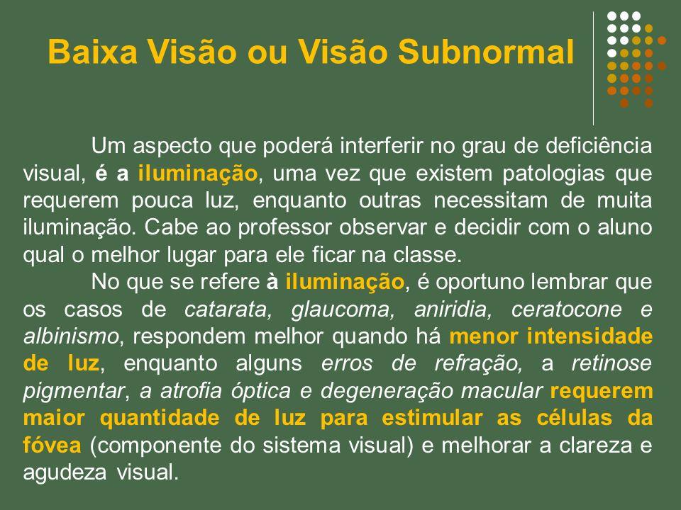Um aspecto que poderá interferir no grau de deficiência visual, é a iluminação, uma vez que existem patologias que requerem pouca luz, enquanto outras