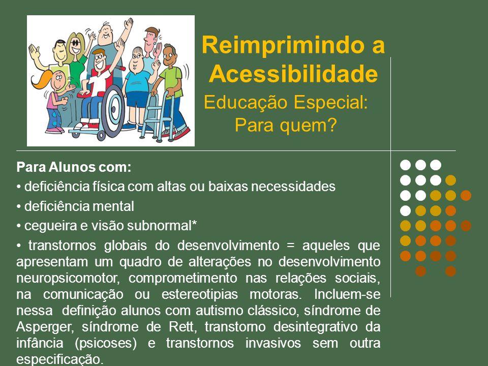 Educação Especial: Para quem? Para Alunos com: deficiência física com altas ou baixas necessidades deficiência mental cegueira e visão subnormal* tran