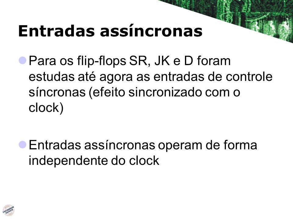Entradas assíncronas Para os flip-flops SR, JK e D foram estudas até agora as entradas de controle síncronas (efeito sincronizado com o clock) Entrada