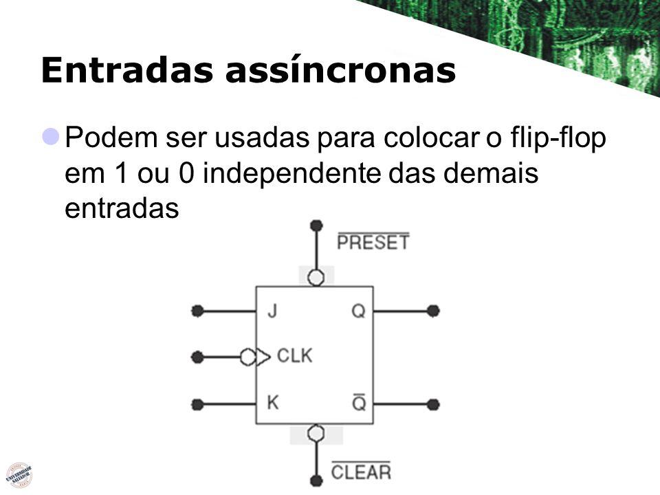 Entradas assíncronas Podem ser usadas para colocar o flip-flop em 1 ou 0 independente das demais entradas