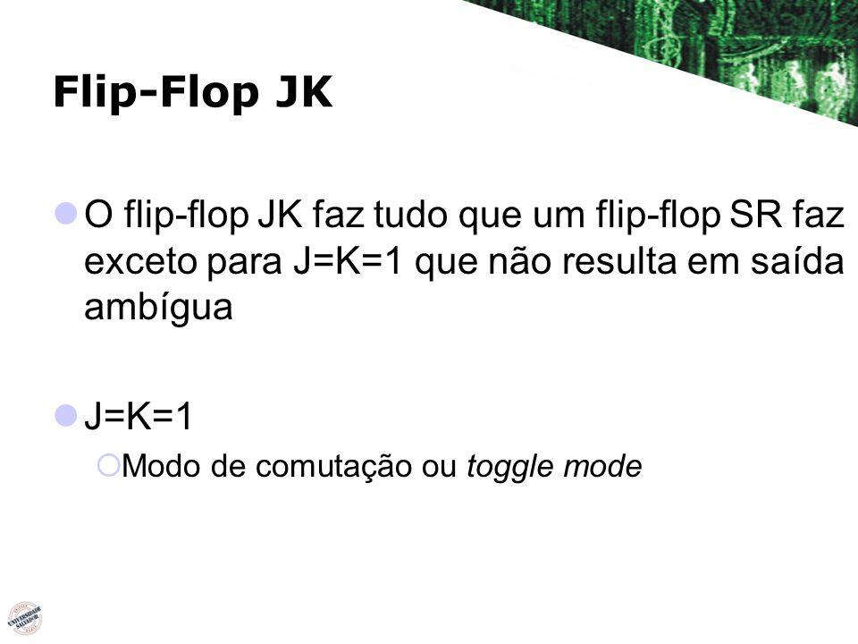 Flip-Flop JK O flip-flop JK faz tudo que um flip-flop SR faz exceto para J=K=1 que não resulta em saída ambígua J=K=1 Modo de comutação ou toggle mode
