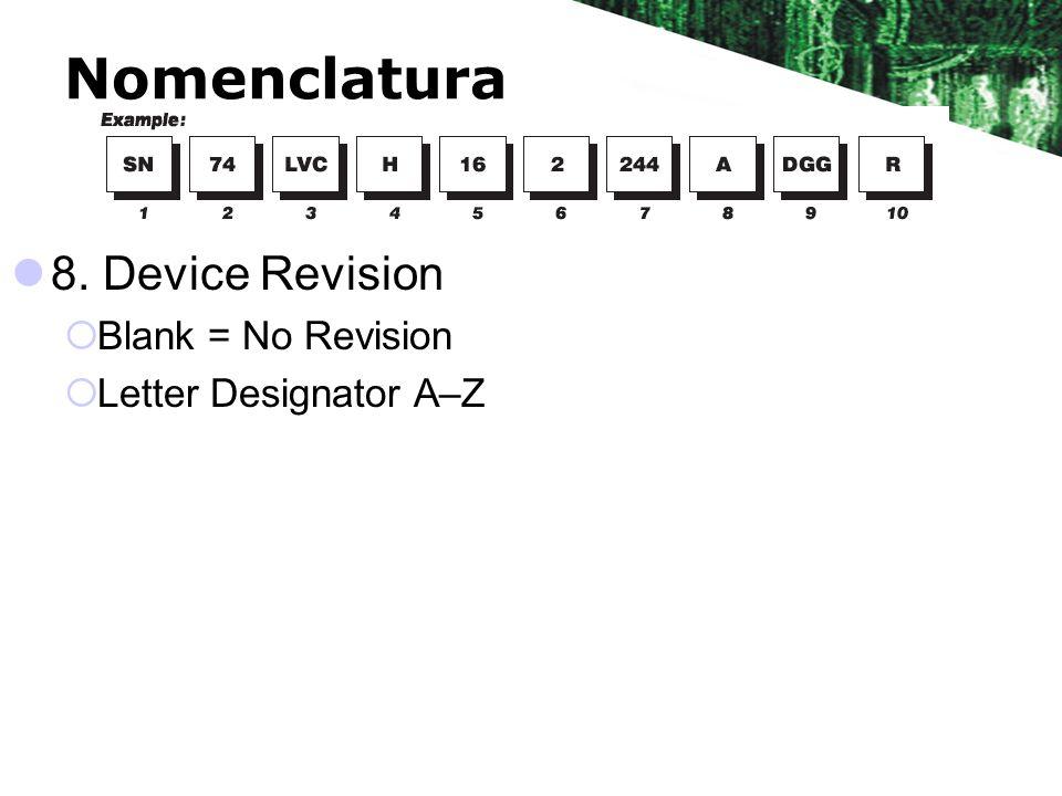 Nomenclatura 8. Device Revision Blank = No Revision Letter Designator A–Z