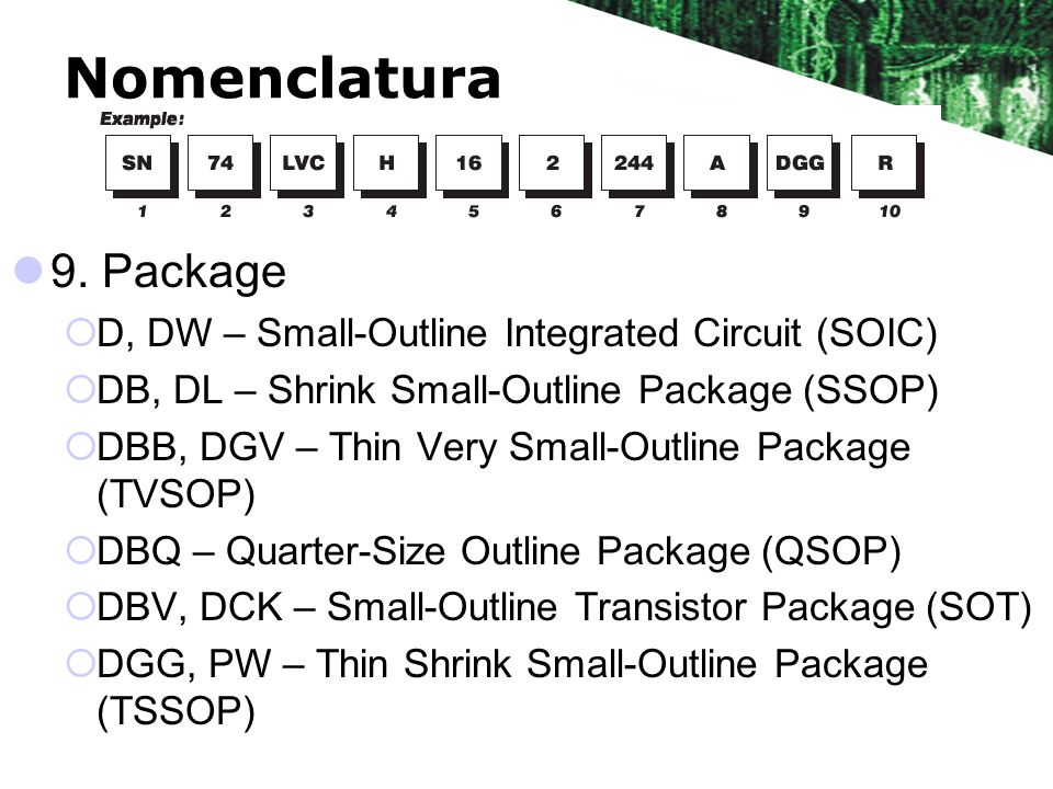 Nomenclatura 9. Package D, DW – Small-Outline Integrated Circuit (SOIC) DB, DL – Shrink Small-Outline Package (SSOP) DBB, DGV – Thin Very Small-Outlin