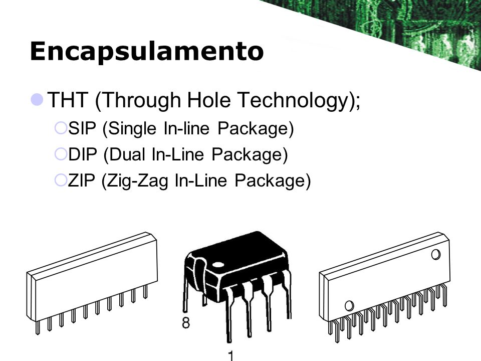 Encapsulamento THT (Through Hole Technology); SIP (Single In-line Package) DIP (Dual In-Line Package) ZIP (Zig-Zag In-Line Package)
