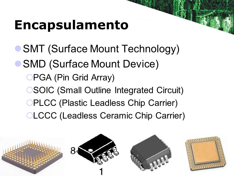 Encapsulamento SMT (Surface Mount Technology) SMD (Surface Mount Device) PGA (Pin Grid Array) SOIC (Small Outline Integrated Circuit) PLCC (Plastic Le