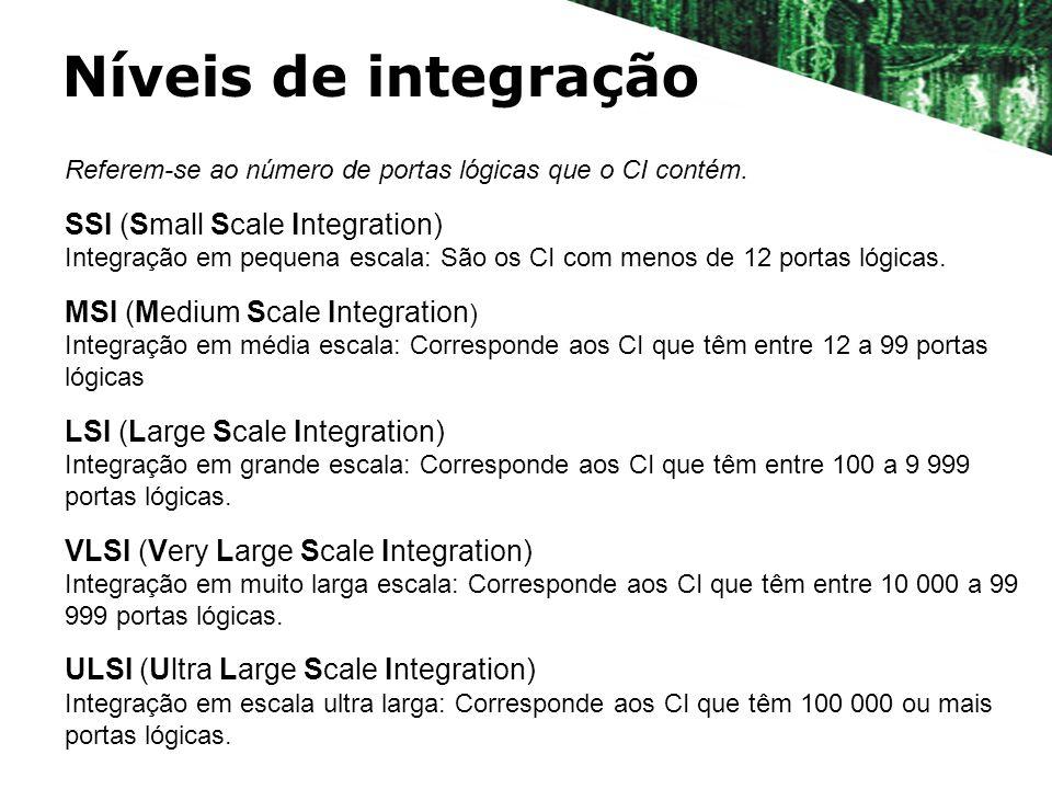 Níveis de integração Referem-se ao número de portas lógicas que o CI contém. SSI (Small Scale Integration) Integração em pequena escala: São os CI com