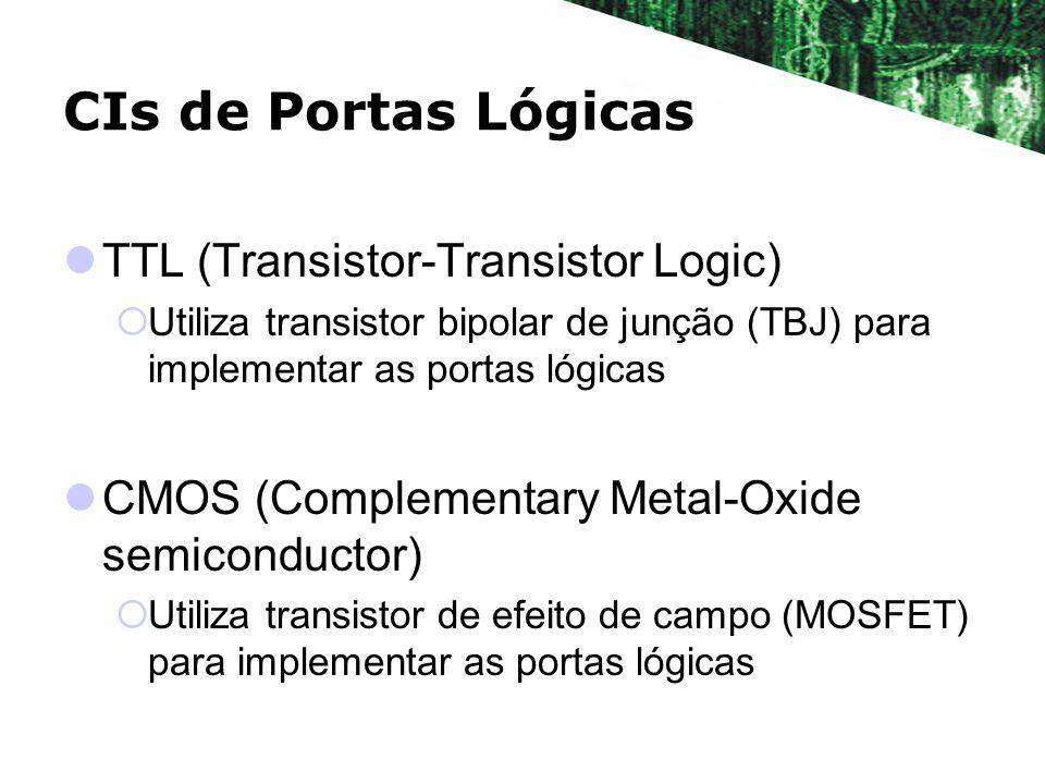 CIs de Portas Lógicas TTL (Transistor-Transistor Logic) Utiliza transistor bipolar de junção (TBJ) para implementar as portas lógicas CMOS (Complement
