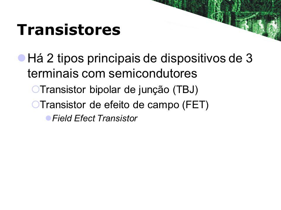 Transistores Há 2 tipos principais de dispositivos de 3 terminais com semicondutores Transistor bipolar de junção (TBJ) Transistor de efeito de campo