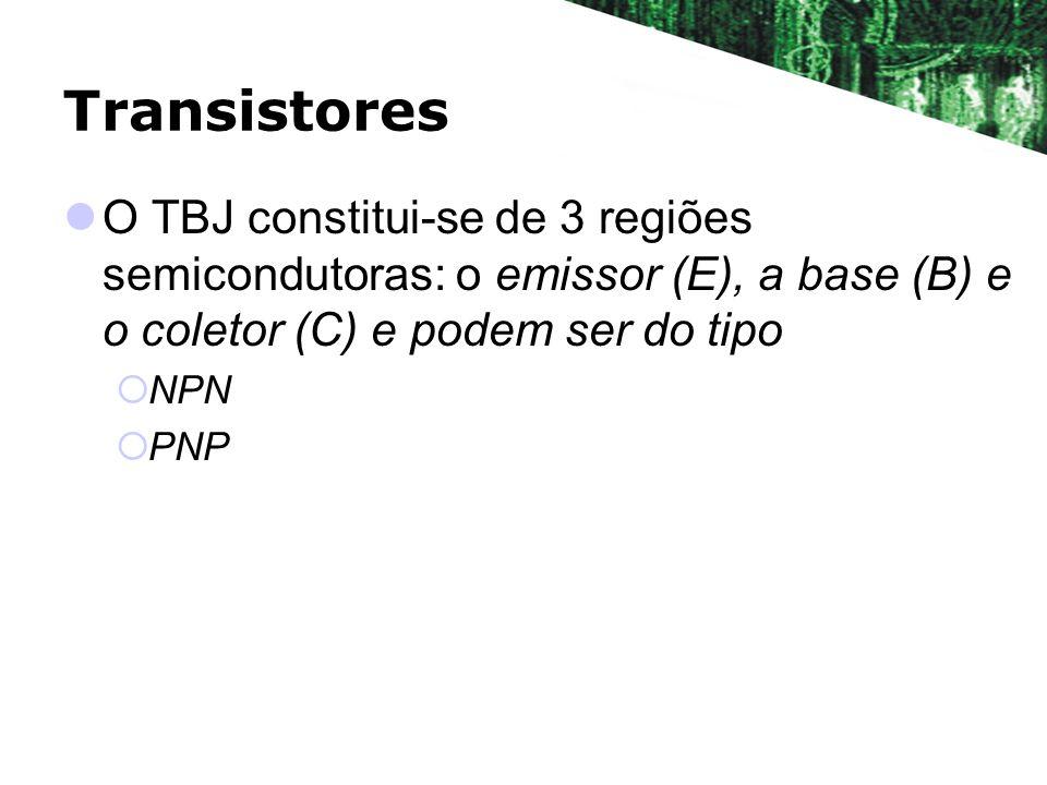 Transistores O TBJ constitui-se de 3 regiões semicondutoras: o emissor (E), a base (B) e o coletor (C) e podem ser do tipo NPN PNP
