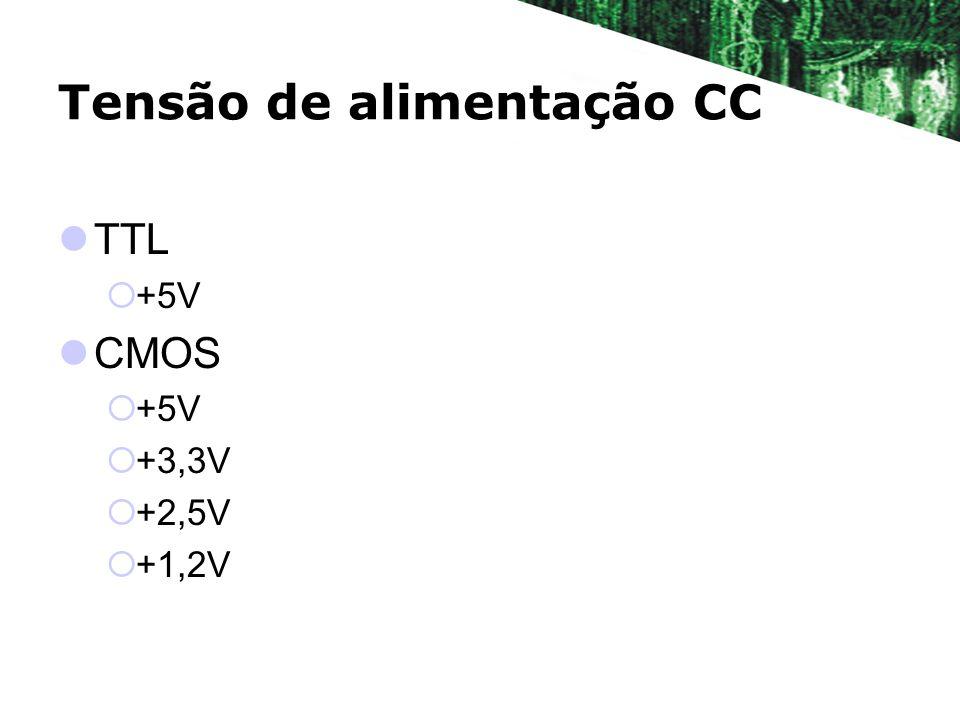 Tensão de alimentação CC TTL +5V CMOS +5V +3,3V +2,5V +1,2V