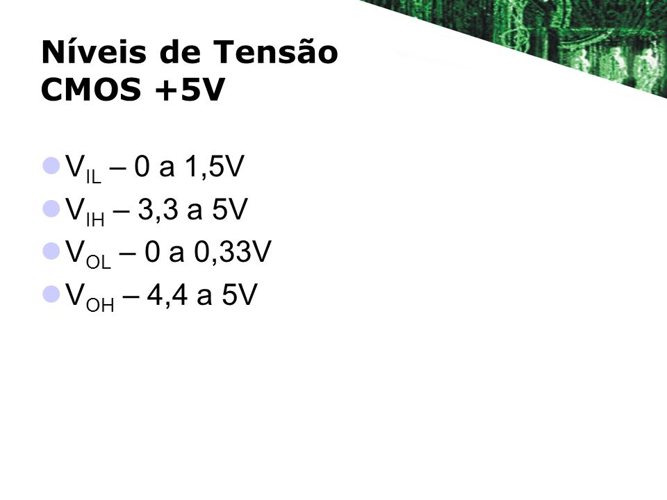Níveis de Tensão CMOS +5V V IL – 0 a 1,5V V IH – 3,3 a 5V V OL – 0 a 0,33V V OH – 4,4 a 5V