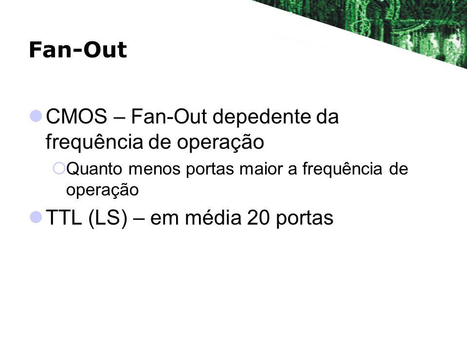 Fan-Out CMOS – Fan-Out depedente da frequência de operação Quanto menos portas maior a frequência de operação TTL (LS) – em média 20 portas
