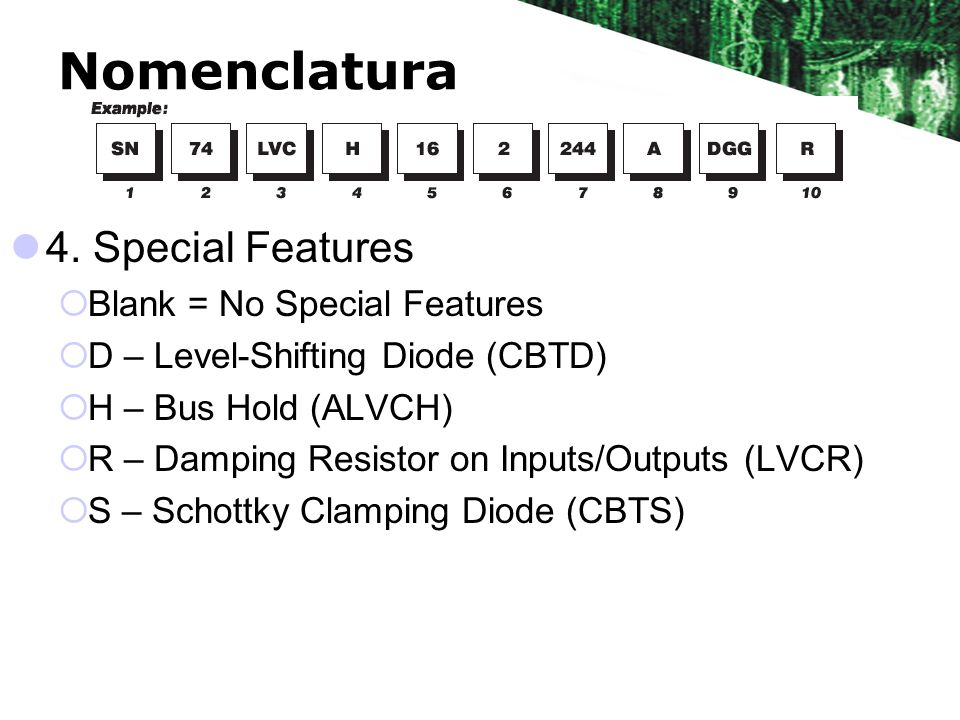Nomenclatura 4. Special Features Blank = No Special Features D – Level-Shifting Diode (CBTD) H – Bus Hold (ALVCH) R – Damping Resistor on Inputs/Outpu