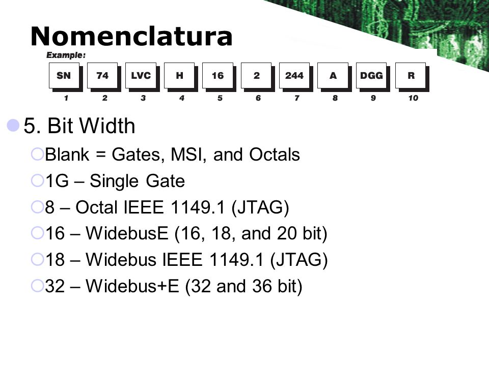 Nomenclatura 5. Bit Width Blank = Gates, MSI, and Octals 1G – Single Gate 8 – Octal IEEE 1149.1 (JTAG) 16 – WidebusE (16, 18, and 20 bit) 18 – Widebus