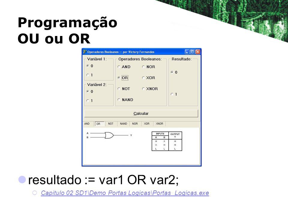 resultado := var1 OR var2; Capitulo 02 SD1\Demo Portas Logicas\Portas_Logicas.exe Programação OU ou OR