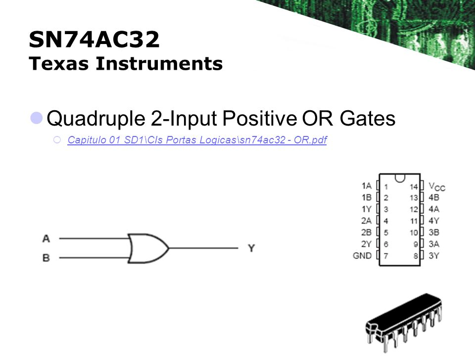 SN74AC32 Texas Instruments Quadruple 2-Input Positive OR Gates Capitulo 01 SD1\CIs Portas Logicas\sn74ac32 - OR.pdf