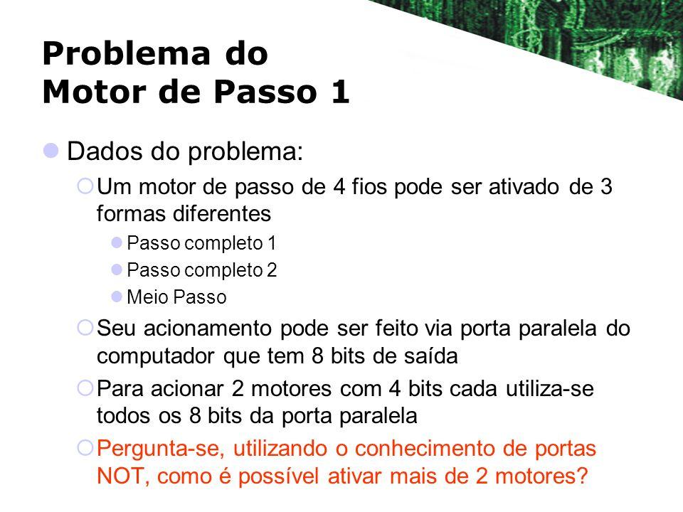 Problema do Motor de Passo 1 Dados do problema: Um motor de passo de 4 fios pode ser ativado de 3 formas diferentes Passo completo 1 Passo completo 2