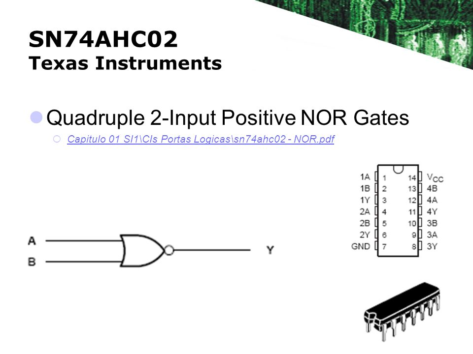 SN74AHC02 Texas Instruments Quadruple 2-Input Positive NOR Gates Capitulo 01 SI1\CIs Portas Logicas\sn74ahc02 - NOR.pdf