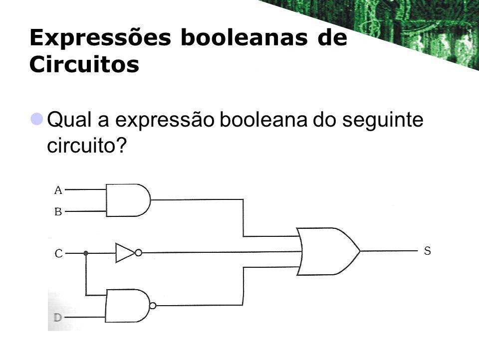 Expressões booleanas de Circuitos Qual a expressão booleana do seguinte circuito?