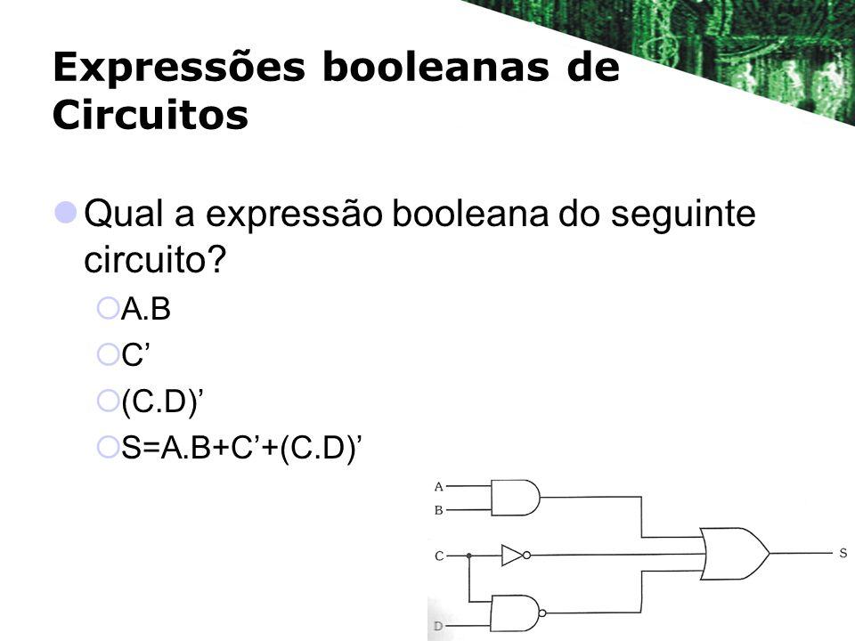 Expressões booleanas de Circuitos Qual a expressão booleana do seguinte circuito? A.B C (C.D) S=A.B+C+(C.D)
