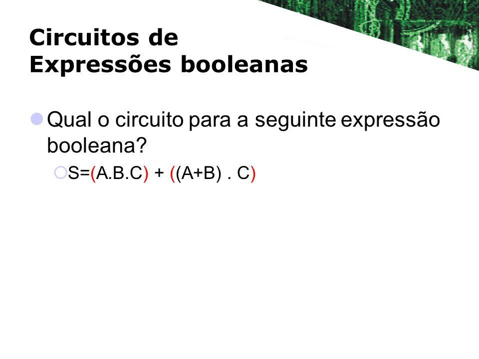 Circuitos de Expressões booleanas Qual o circuito para a seguinte expressão booleana? S=(A.B.C) + ((A+B). C)