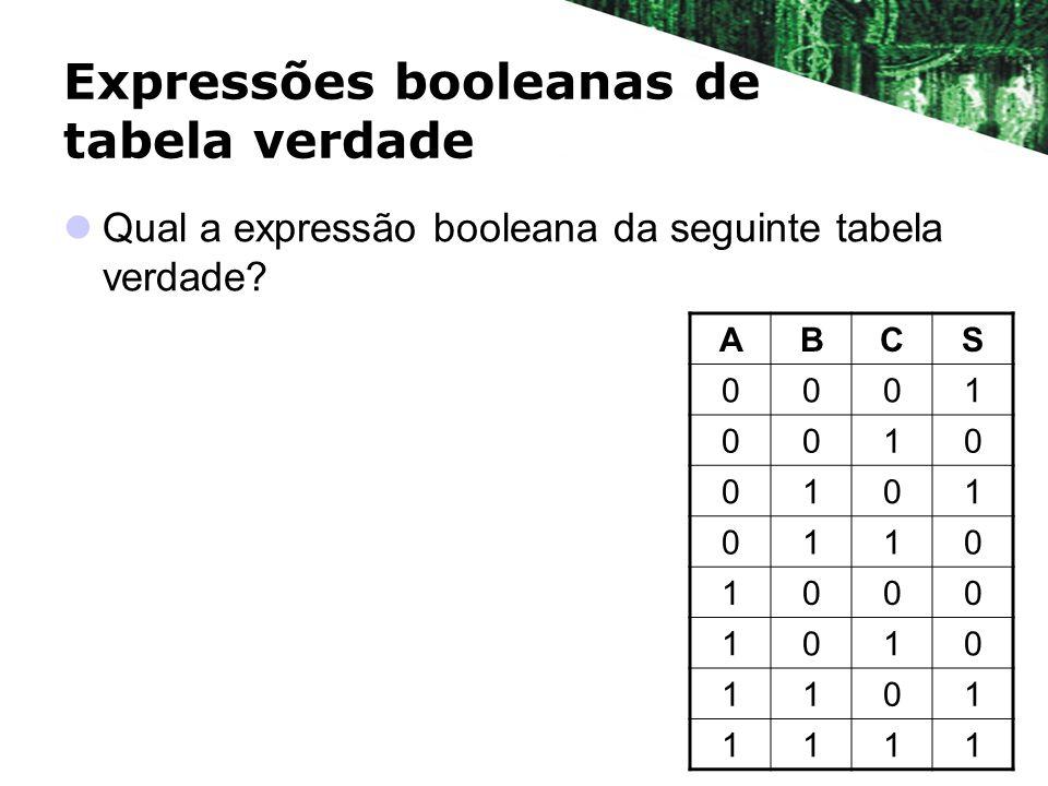 Expressões booleanas de tabela verdade Qual a expressão booleana da seguinte tabela verdade? ABCS 0001 0010 0101 0110 1000 1010 1101 1111