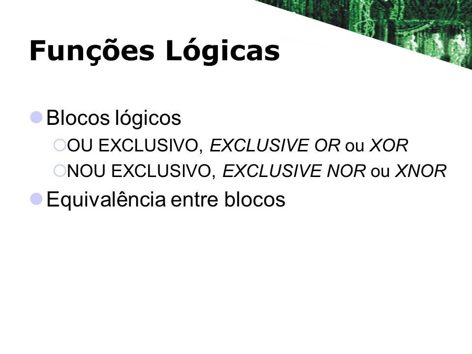 Funções Lógicas Blocos lógicos OU EXCLUSIVO, EXCLUSIVE OR ou XOR NOU EXCLUSIVO, EXCLUSIVE NOR ou XNOR Equivalência entre blocos