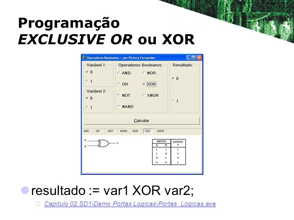 resultado := var1 XOR var2; Capitulo 02 SD1\Demo Portas Logicas\Portas_Logicas.exe Programação EXCLUSIVE OR ou XOR