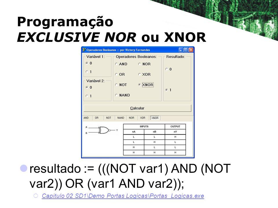 resultado := (((NOT var1) AND (NOT var2)) OR (var1 AND var2)); Capitulo 02 SD1\Demo Portas Logicas\Portas_Logicas.exe Programação EXCLUSIVE NOR ou XNO