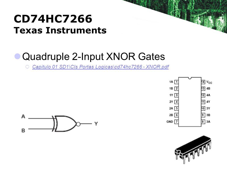CD74HC7266 Texas Instruments Quadruple 2-Input XNOR Gates Capitulo 01 SD1\CIs Portas Logicas\cd74hc7266 - XNOR.pdf