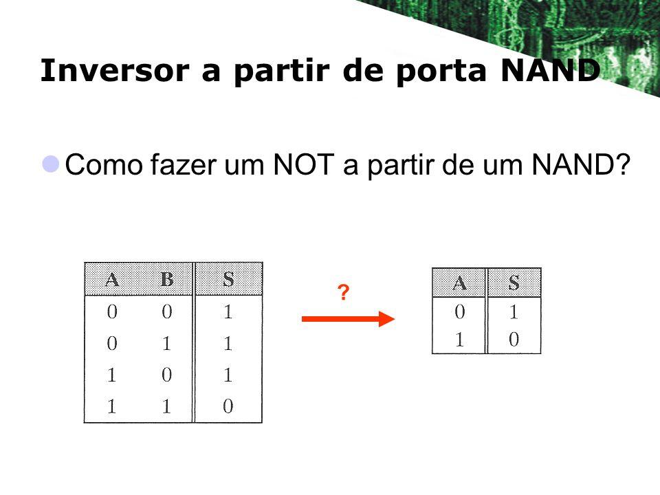 Inversor a partir de porta NAND Como fazer um NOT a partir de um NAND? ?