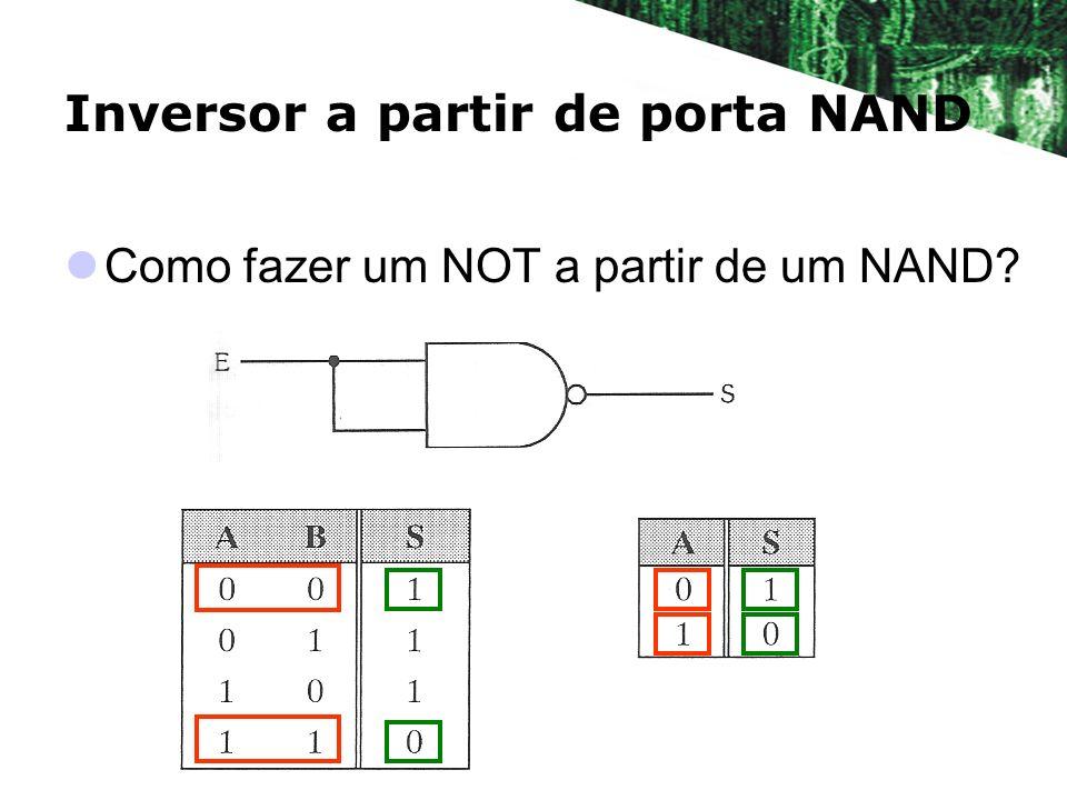 Inversor a partir de porta NAND Como fazer um NOT a partir de um NAND?