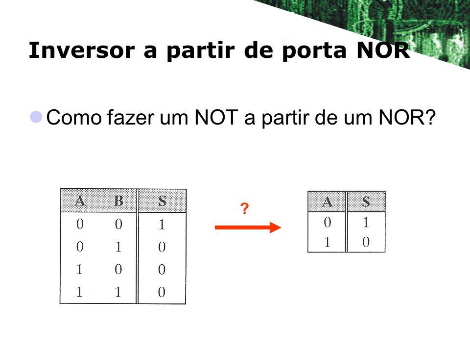 Inversor a partir de porta NOR Como fazer um NOT a partir de um NOR? ?