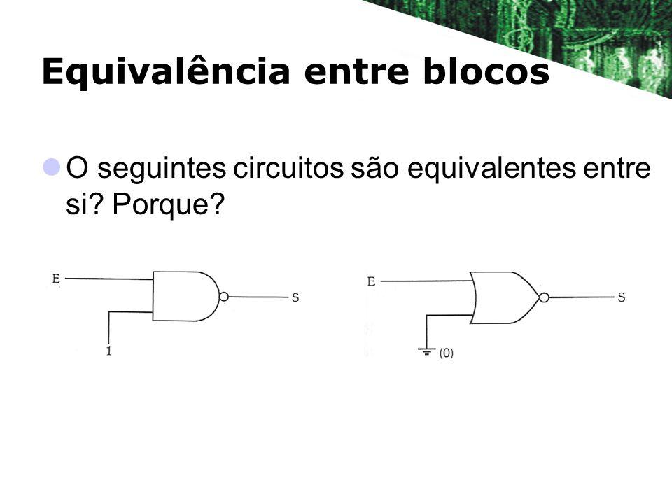 Equivalência entre blocos O seguintes circuitos são equivalentes entre si? Porque?