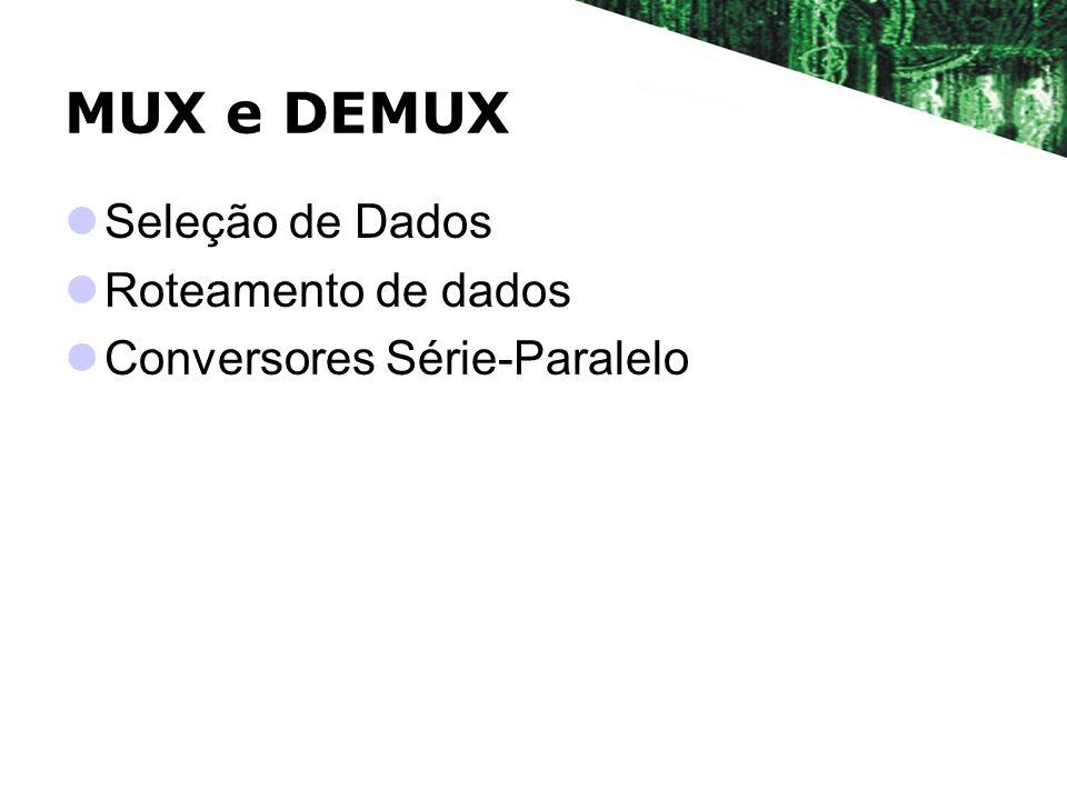 MUX e DEMUX Seleção de Dados Roteamento de dados Conversores Série-Paralelo
