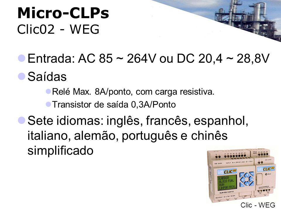 Micro-CLPs Clic02 - WEG Entrada: AC 85 ~ 264V ou DC 20,4 ~ 28,8V Saídas Relé Max. 8A/ponto, com carga resistiva. Transistor de saída 0,3A/Ponto Sete i