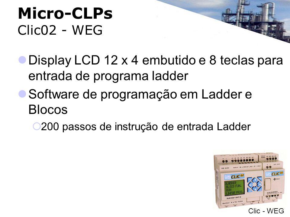 Micro-CLPs Clic02 - WEG Display LCD 12 x 4 embutido e 8 teclas para entrada de programa ladder Software de programação em Ladder e Blocos 200 passos d
